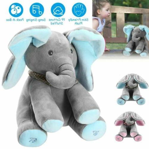 peek a boo elephant stuffed doll animated