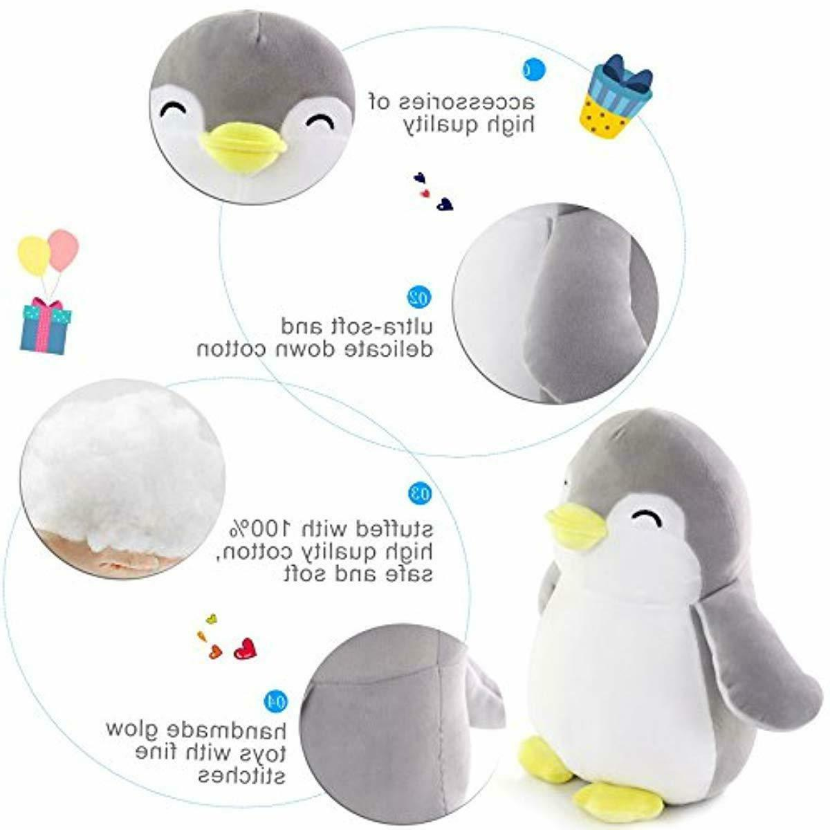 WEWILL Penguin Stuffed Squeezable Plush Penguin Gray,