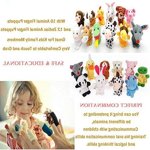 22 Finger Puppet Mini Assortment For Hands For Autistic Children, Great Family Parents Set
