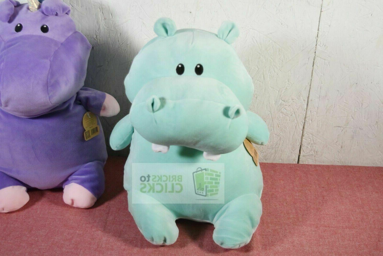 "Animal Adventure Plush Hippo Purple Unicorn 17"" Plushy Toy Lot X2"