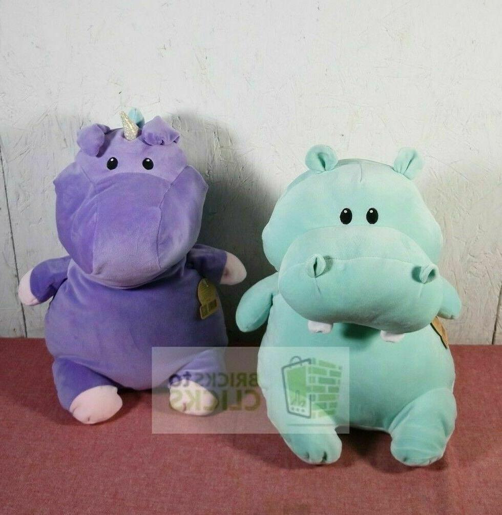 "Animal Plush Green Hippo & Purple 17"" Plushy Toy X2"
