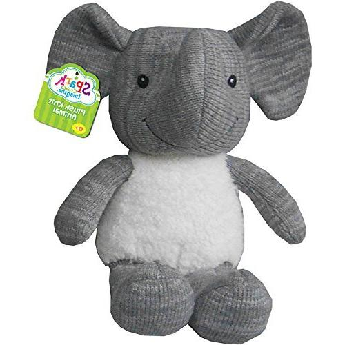 plush knit animal gray elephant