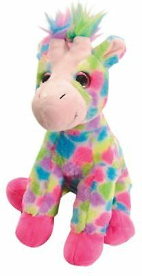 The Petting Zoo Plush Rainbow Sitting Giraffe - 12 Inches
