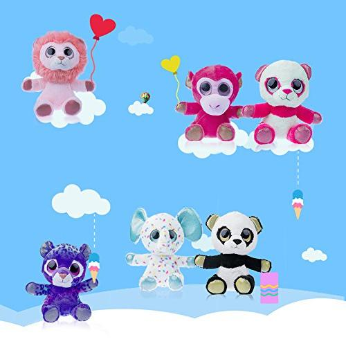 "MY 7"" Plush Toys Set Bundle Zoo Animal Toys Bear/Purple Stuffed Animals Pack 6 Girls Boys"