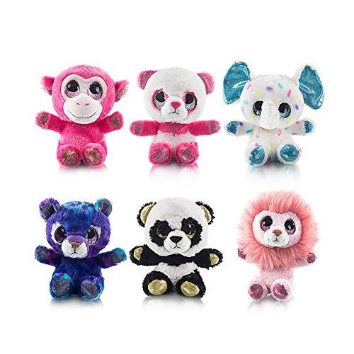 "MY OLI 7"" Toys Bundle of Toys Lion/Monkey/Elephant/Pink Bear/Purple Bear/Panda Stuffed Pack of 6 for Babies Girls"