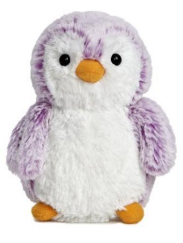 6 Inch Purple PomPom Penguin Plush Stuffed Animal by Aurora