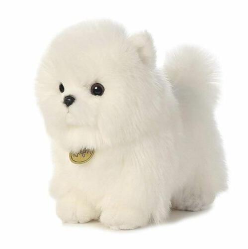 pompom white pomeranian puppy plush toy stuffed