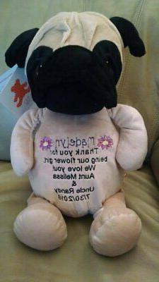 Pug stuffed plush animal Custom personalized embroidered eng