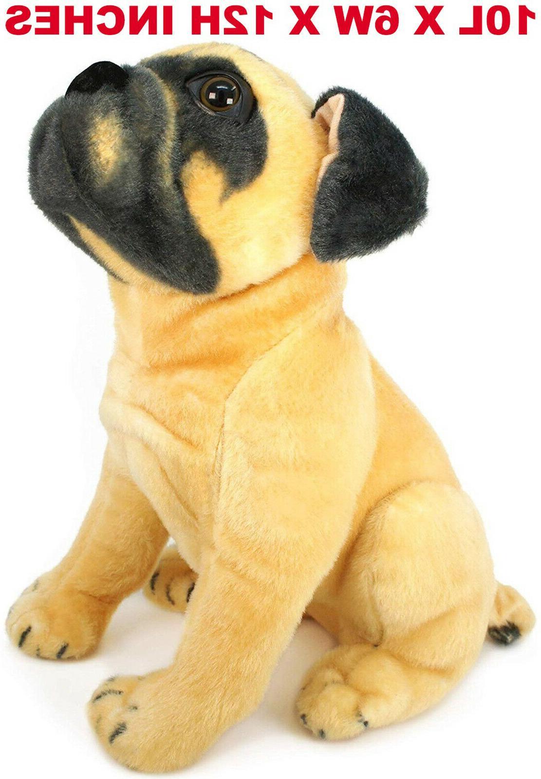 Realistic Pug Stuffed Animal, Realistic Pug Dog Pet Plush Lifelike Simulation Stuffed