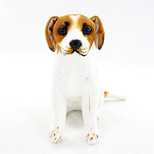 "Jesonn Realistic Sitting Beagle Dog,10"" 25CM,1PC"
