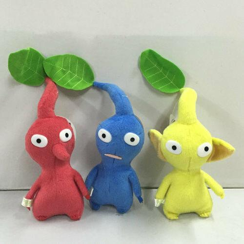 "NEW set of 3 PIKMIN  8"" Red/Blue/Yellow LEAF STUFFED PLUSH S"