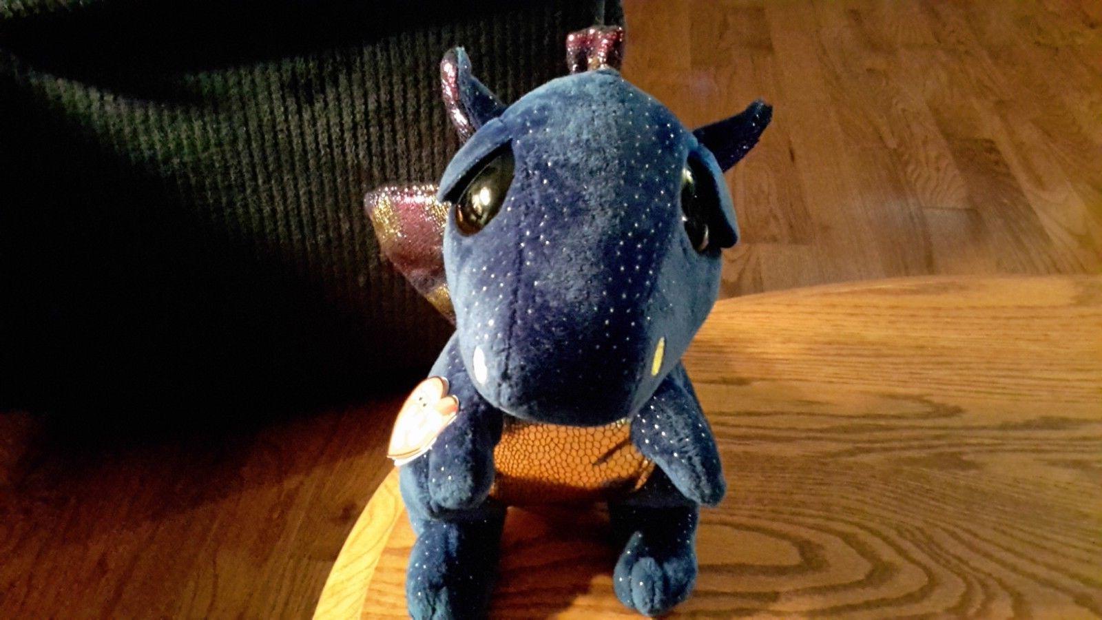 Ty Blue Dragon Boos Plush Animal Heart