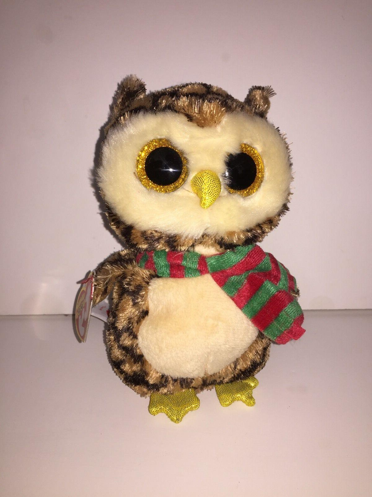 TY SAMMY OWL SET OF 2 BEANIE BOOS-NEW,MINT TAG*IN HAND*SHIPS