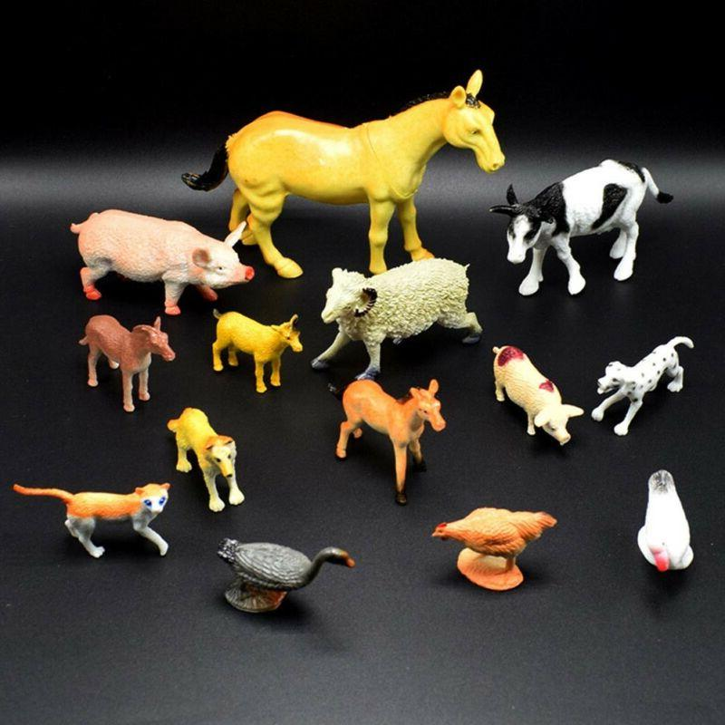 14pcs/set PVC Horse Pig Figure Kid Gifts Teaching Toys