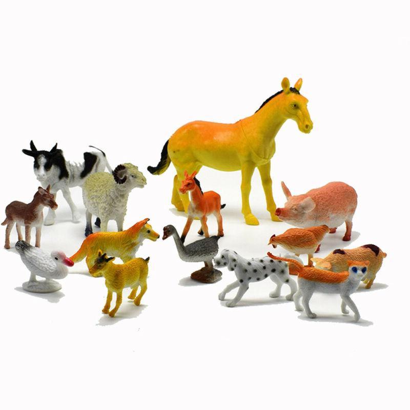 14pcs/set Farm Animals Horse Model Figure Kid Teaching Toys