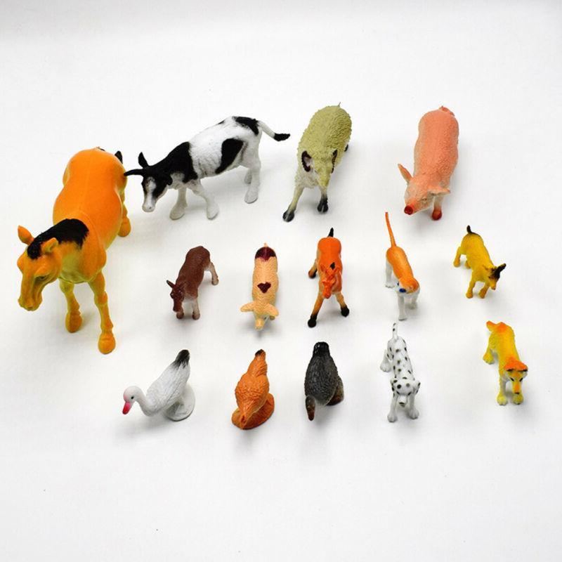 14pcs/set PVC Horse Pig Model Action Figure Gifts Teaching Toys