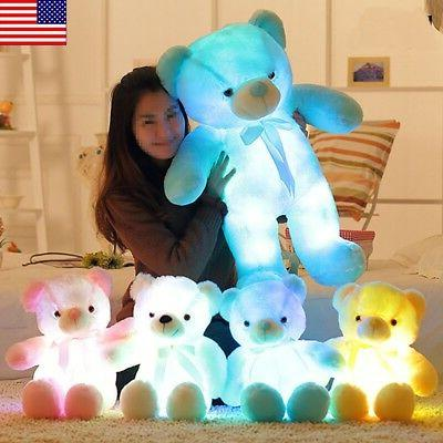 Small LED Lovely Bear Stuffed Animals Plush Soft Hug Toy Bab