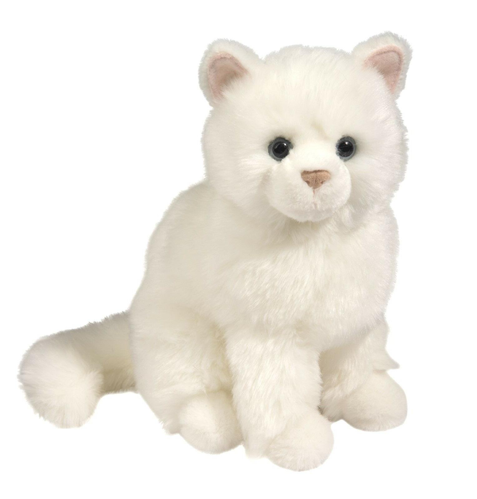 Douglas Snowball WHITE CAT Plush Stuffed Sitting Realistic C