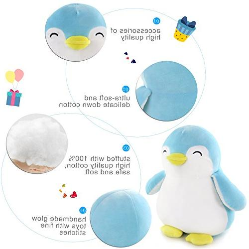 WEWILL Squishy Plush Penguin Toys Gift on Christmas Occasions, Blue, 12