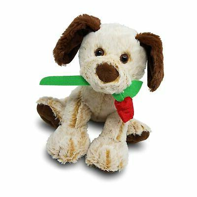 stuffed animal dog with rose for her