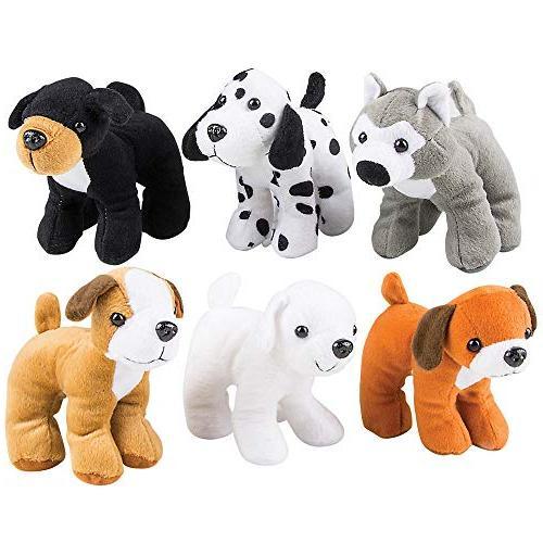 Bedwina Plush Dogs - 6 Stuffed Animals Assorted Puppies Cute Plushed Assortment