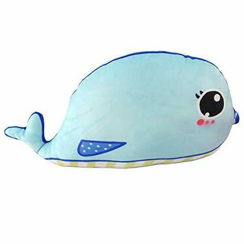 stuffed whale animal soft plush fish pillow