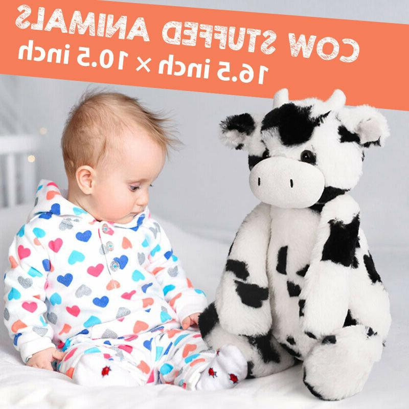 "Cute CREAM COW 16.5"" stuffed plush animal farm black white F"