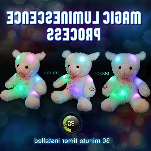 WEWILL LED Stuffed Animals Soft Toy with 30 Timer, Babies,