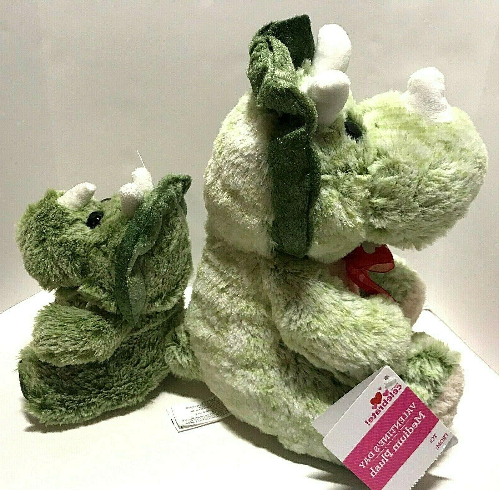 Triceratops Dinosaurs Plush_NEW_ Set of 2_Stuffed Animals Eyes Green