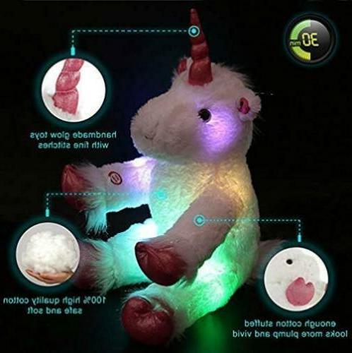 Unicorn Stuffed Animal Plush Toy LED Kids New