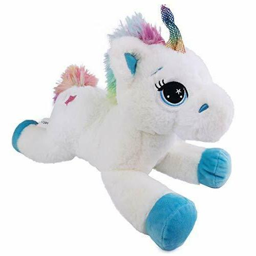 unicorn stuffed animal with rainbow tail great