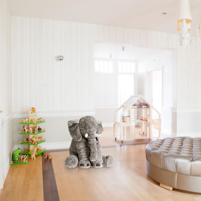 Large Birthday Stuffed Shower Elephant Gray