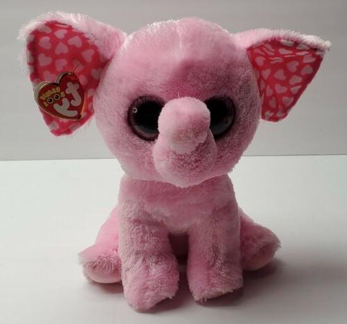 "Ty Valentine/'s Day Beanie Boos 6/"" Sugar the Pink Elephant Plush"