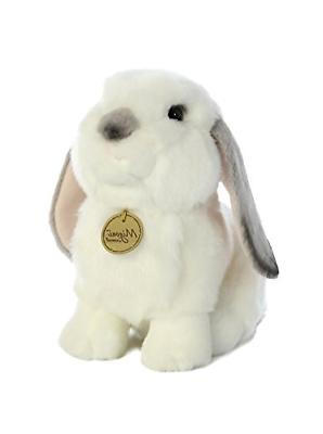 Aurora World Miyoni White Plush Lop Eared Rabbit Gray Ears,