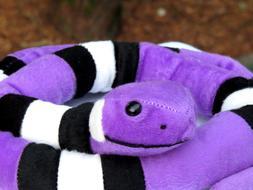 """Large 45"""" Snake Bright Colors Purple White & Black Plush Stu"""
