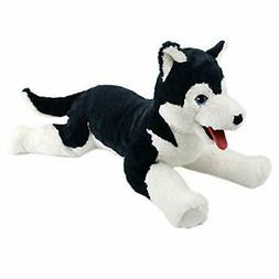 large lifelike husky stuffed animal soft dog