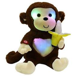 WEWILL LED Cute Monkey Stuffed Animal Creative Glow Soft Plu