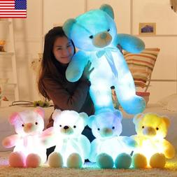 LED Shiny Teddy Bear Stuffed Animals Plush Soft Hug Toy Baby