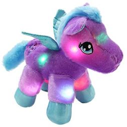 WEWILL LED Pegasus Stuffed Animal Glow Unicorn Soft Plush To