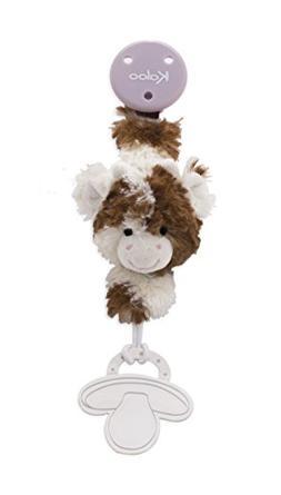 Kaloo Les Amis Pacifier Holder Cow-Brown & White Plush