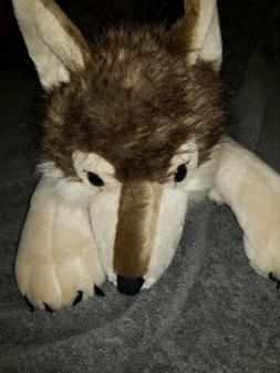 Life Size Wild Republic JUMBO Husky Dog WOlf Grey Laying Plu