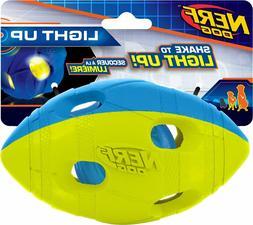 Nerf Dog Light Up LED Bash Football, Blue/Green