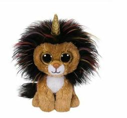 "Lion Unicorn 6"" Ty Beanie Boos Puppy Glitter Big Eyes Plush"