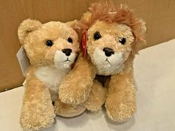 "LIONEL Lion & LEAH Lioness Mini Flopsie 8"" Stuffed Animal Pl"