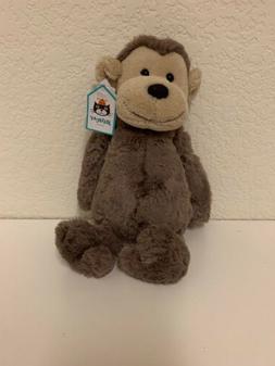 Jellycat London Medium Bashful Monkey Brown Soft Plush NWT A