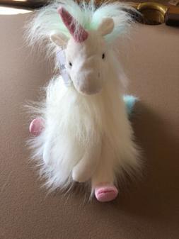 Luxe Long Fuzzy Fur Unicorn With Rainbow Mane 12 inch Stuffe