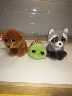 "Lot 3 Ty Beanie Boos 6"" Bandit Raccoon New Brownie Bear & Zi"