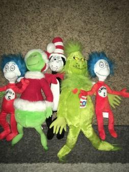 Lot of 5 Dr. Seuss Plush Stuffed Animals Characters Grinch C
