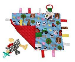 Lovey Baby Tag Minky Dot Blanket Bundle with Wubbanub Pacifi
