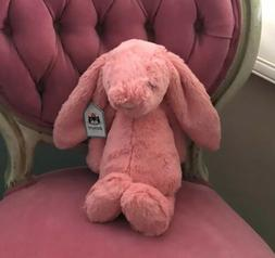 Jellycat Medium Bright Coral Bashful Bunny, New With Tags!
